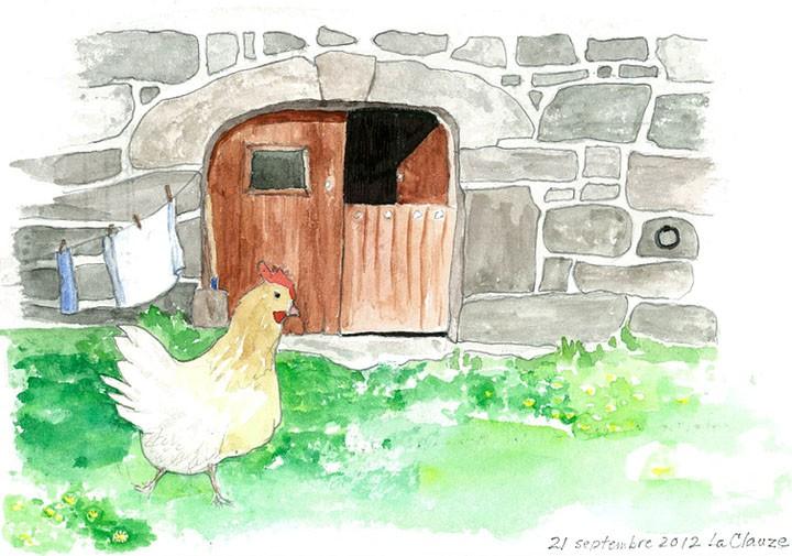 cards European scenes hen barn