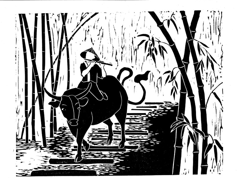 Riding the Ox Homeprint by Mary Ray Cate